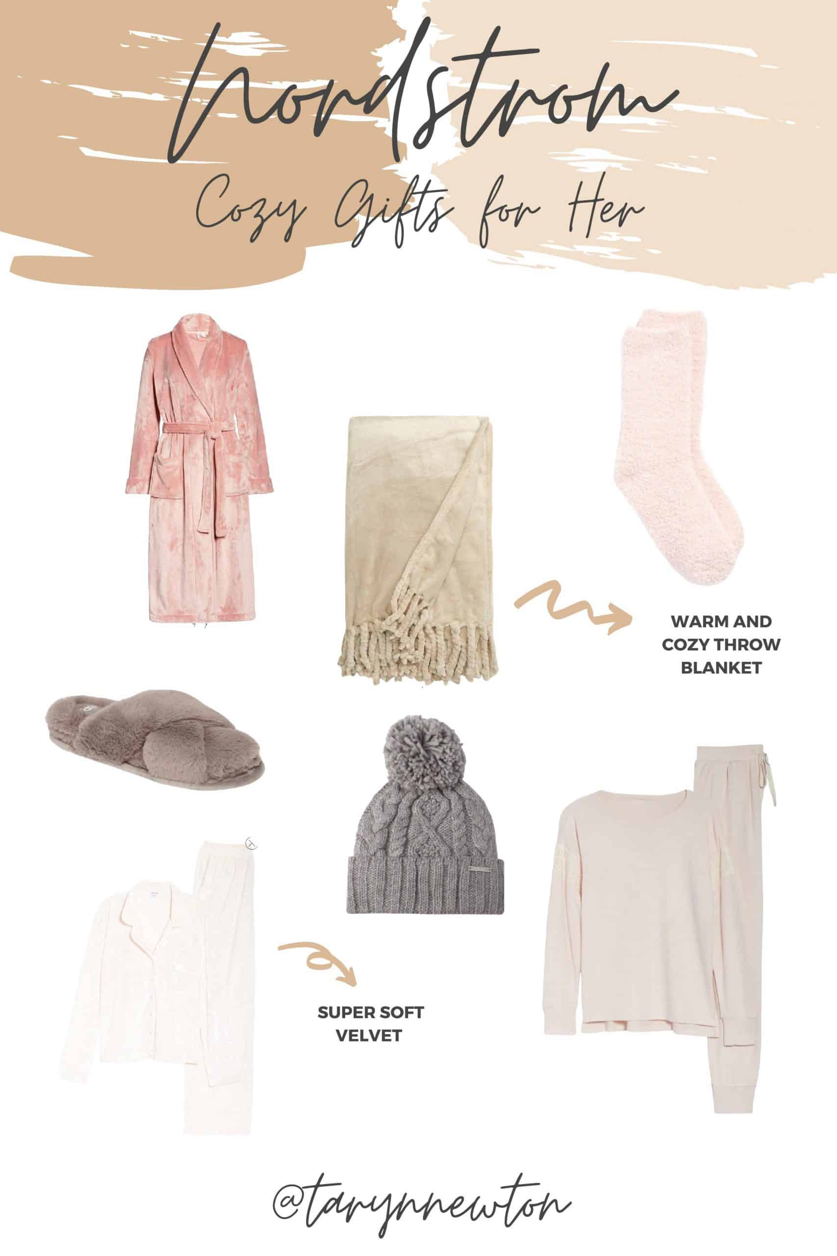 Cozy Gifts by popular Dallas life and style blog, Glamorous Versatility: collage image of a Sophie Criss Plush Slippers, Bliss Plush Robe, Alexandra Brushed Knit Pajamas, Crushed Velvet Pajamas, Butter Crew Socks, and Bliss Plush Throw Blanket.