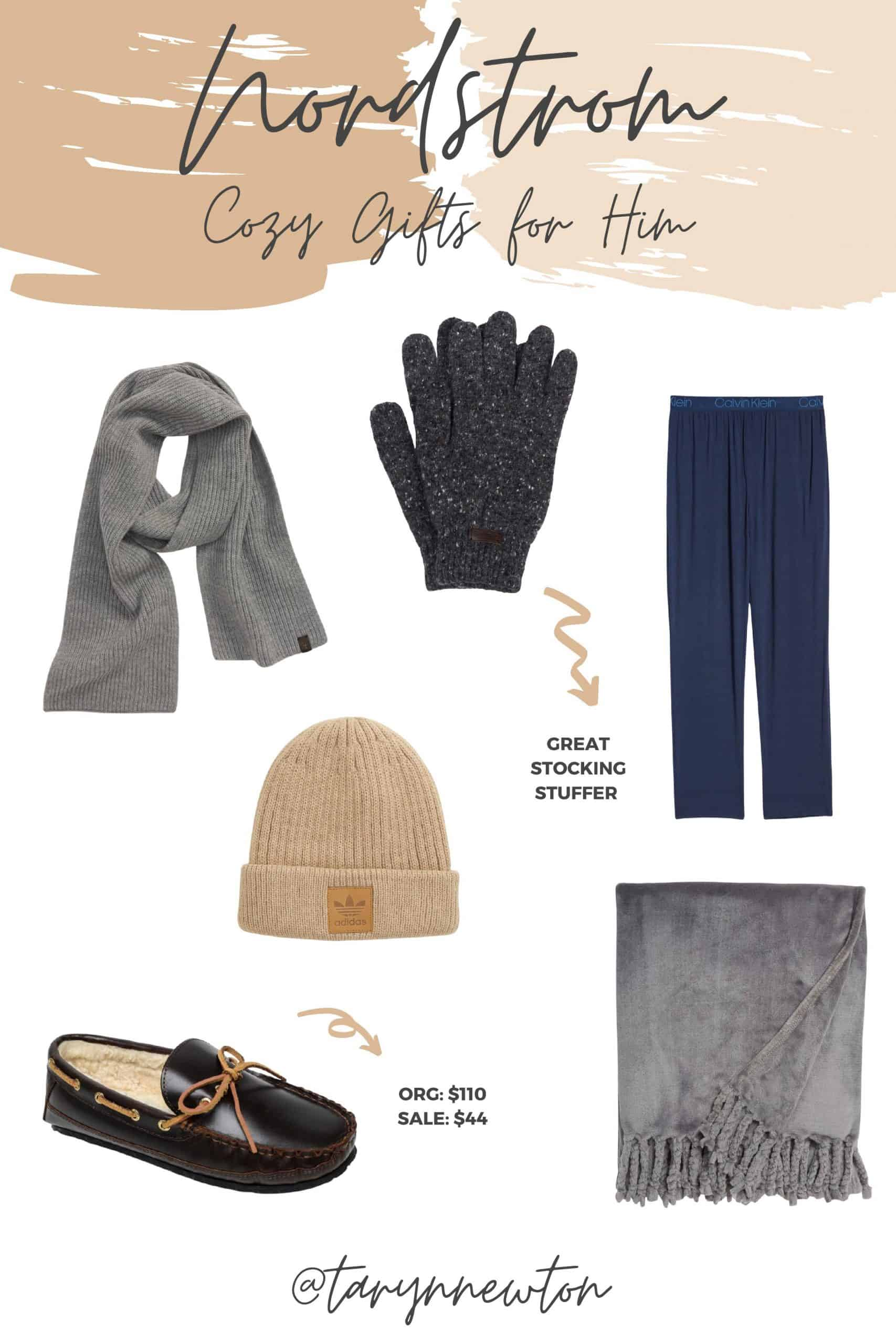 Cozy Gifts by popular Dallas life and style blog, Glamorous Versatility: collage image of a grey scarf, grey glove, navy lounge pants, Adidas bean, bliss plush tassel blanket, leather moccasin slippers.