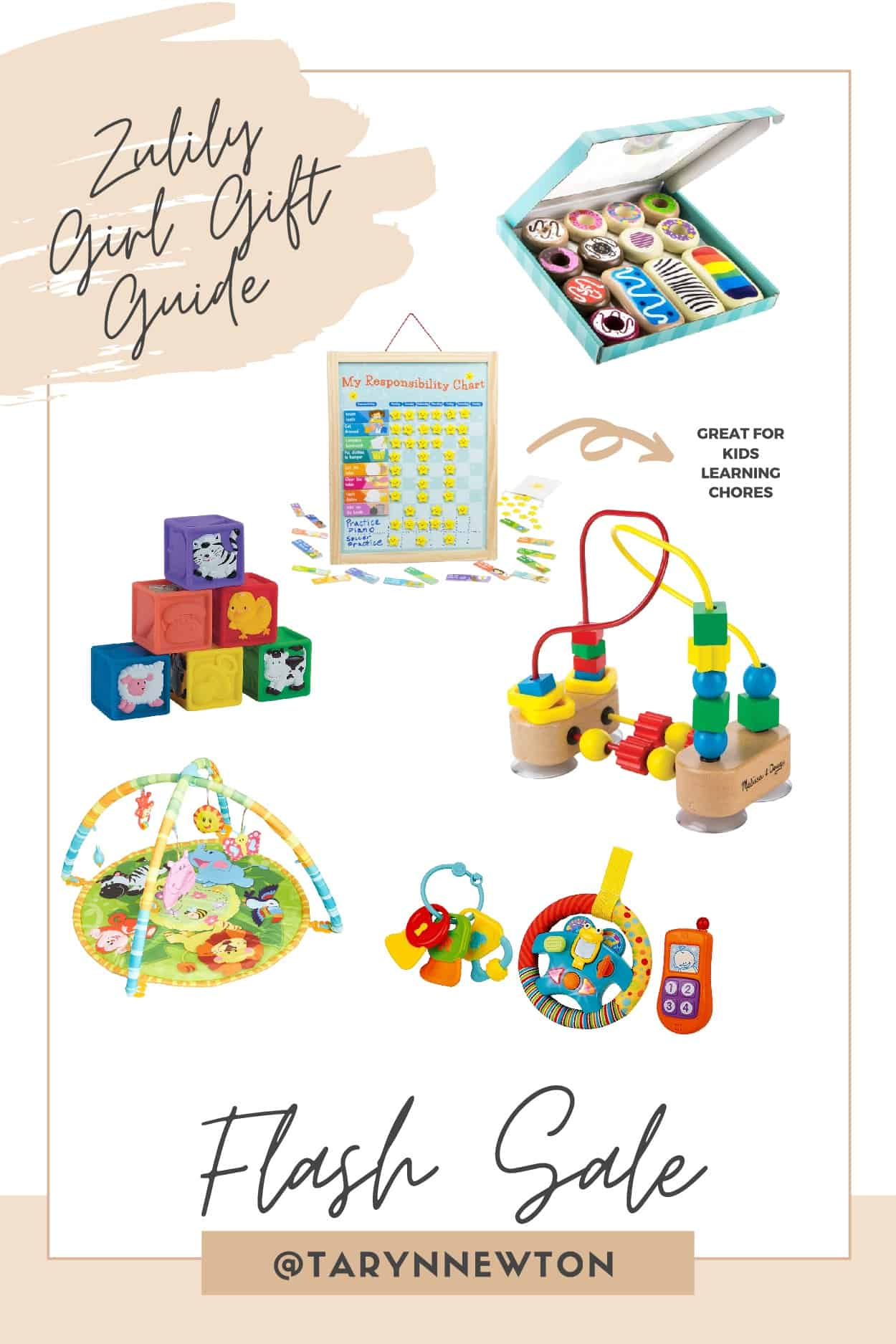 Christmas Gift Guide by poplar Dallas life and style blog, Glamorous Versatility: collage image of a play mat, squishy blocks, wooden beed toy, wooden play food, wooden beed toy, and baby car toy set