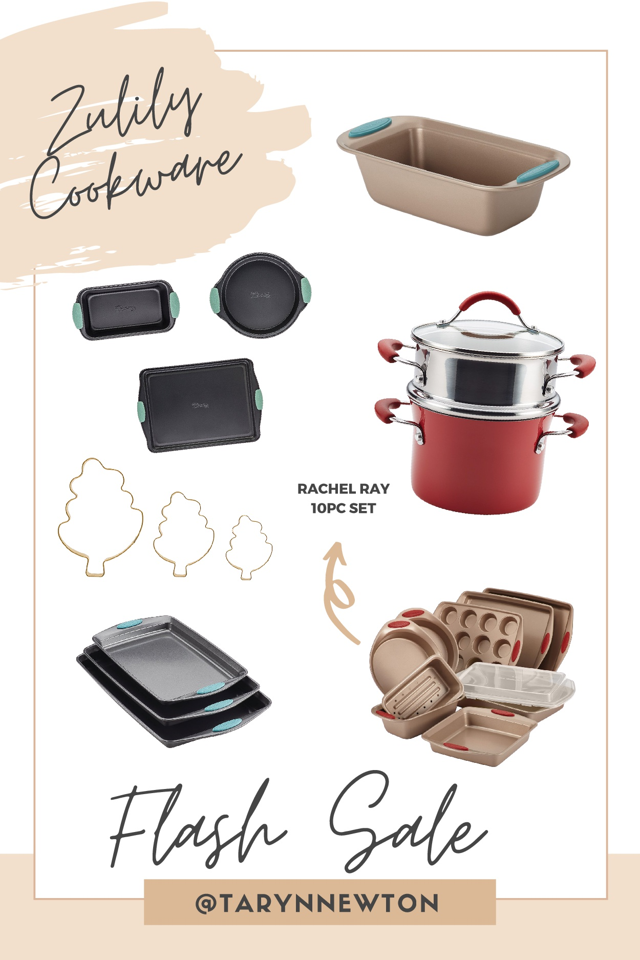 Christmas Gift Guide by poplar Dallas life and style blog, Glamorous Versatility: collage image of baking pans, baking sheets, and pots.