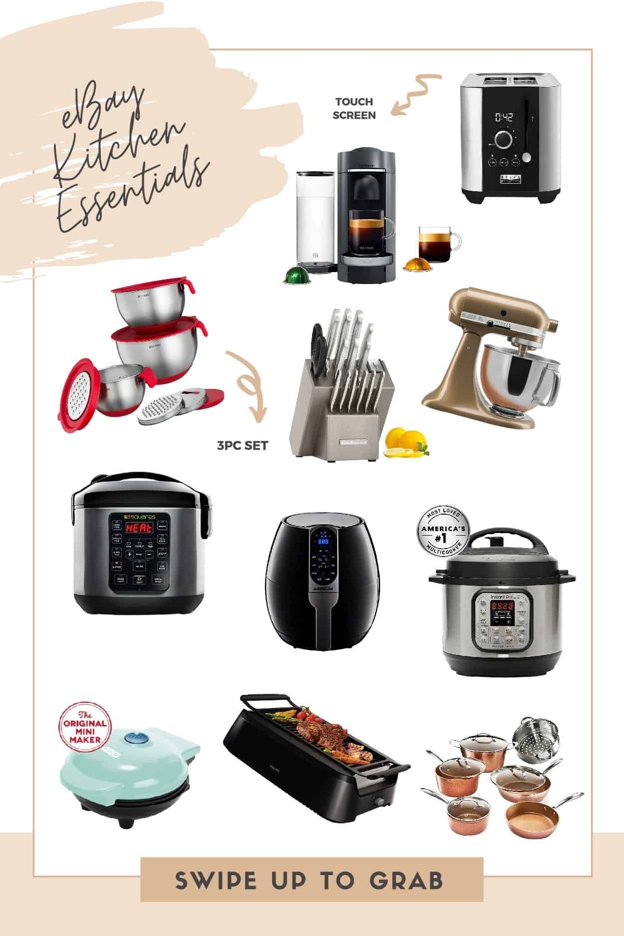 Thanksgiving Prep by popular Dallas lifestyle blog, Glamorous Versatility: collage image of a Insta Pot, mini waffle iron, copper pots, gold Kitchen Aid mixer, Coffee maker, Knife set, rice cooker, metal mixing bowls, and touch screen toaster.