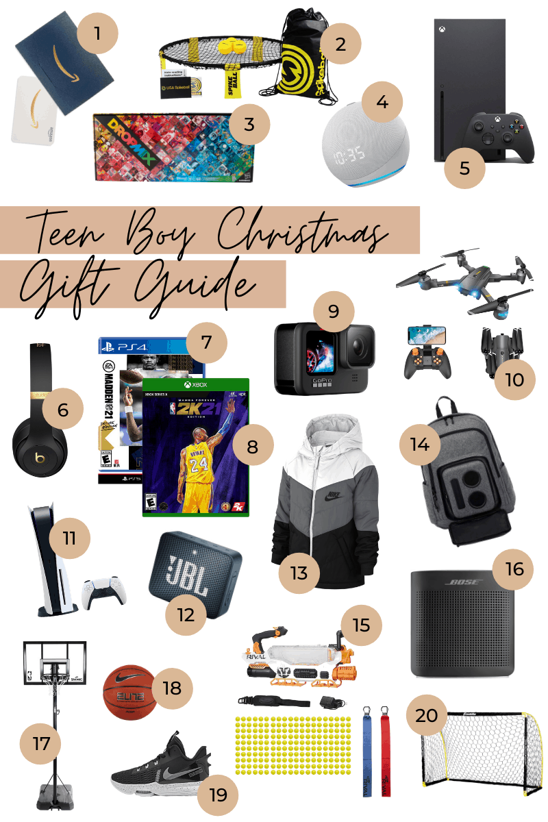 """Gifts for Boys by popular Dallas life and style blog, Glamorous Versatility: collage image of a Amazon Gift Card, Spikeball Roundnet Combo Set, DropMix Music Gaming System, Echo Dot (4th Gen) w/ Clock, Xbox Series X Console, Beats Studio3 Wireless Headphones, Madden NFL 21: Deluxe Edition, NBA 2K21: Mamba Forever Edition, GoPro HERO9 Drone, Playstation 5 Console, JBL Waterproof Speaker Nike Jacket, Bluetooth Speaker Backpack, NERF Rival Prometheus MXVIII-20K, Bose Bluetooth Speaker, NBA 44"""" Basketball Hoop, Nike Basketball, and Nike LeBron Basketball Shoes Soccer Goal."""