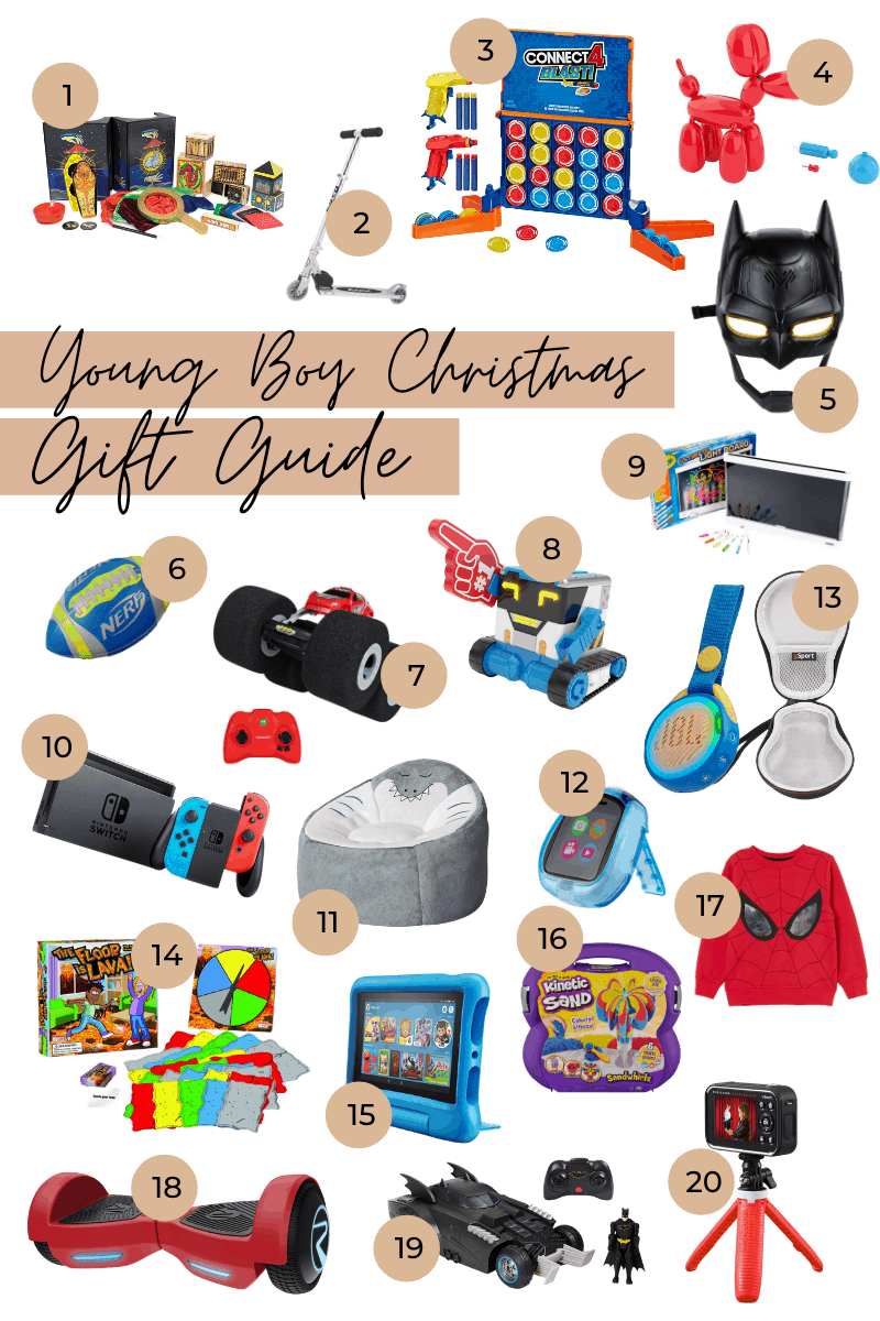 Gifts for Boys by popular Dallas life and style blog, Glamorous Versatility: collage image of a Melissa & Doug Magic Set, Razor Scooter, Connect 4 Blast!, Squeakee Balloon Dog, Batman Voice Changing Mask, NERF Football, Air Hogs Stunt Vehicle, RAD Robot MiBRO, Crayola Light Board, Nintendo Switch, Shark Bean Bag Chair, Little Tikes, Tobi Watch, JBL Portable Speaker w/ Case, The Floor is Lava Game, Fire 7: Kids Edition Tablet, Kinetic Sand Playset, Spiderman Sweatshirt, Rydon Zoom XP Hoverboard, Launch & Defend Batmobile, and VTech KidiZoom Creator Cam