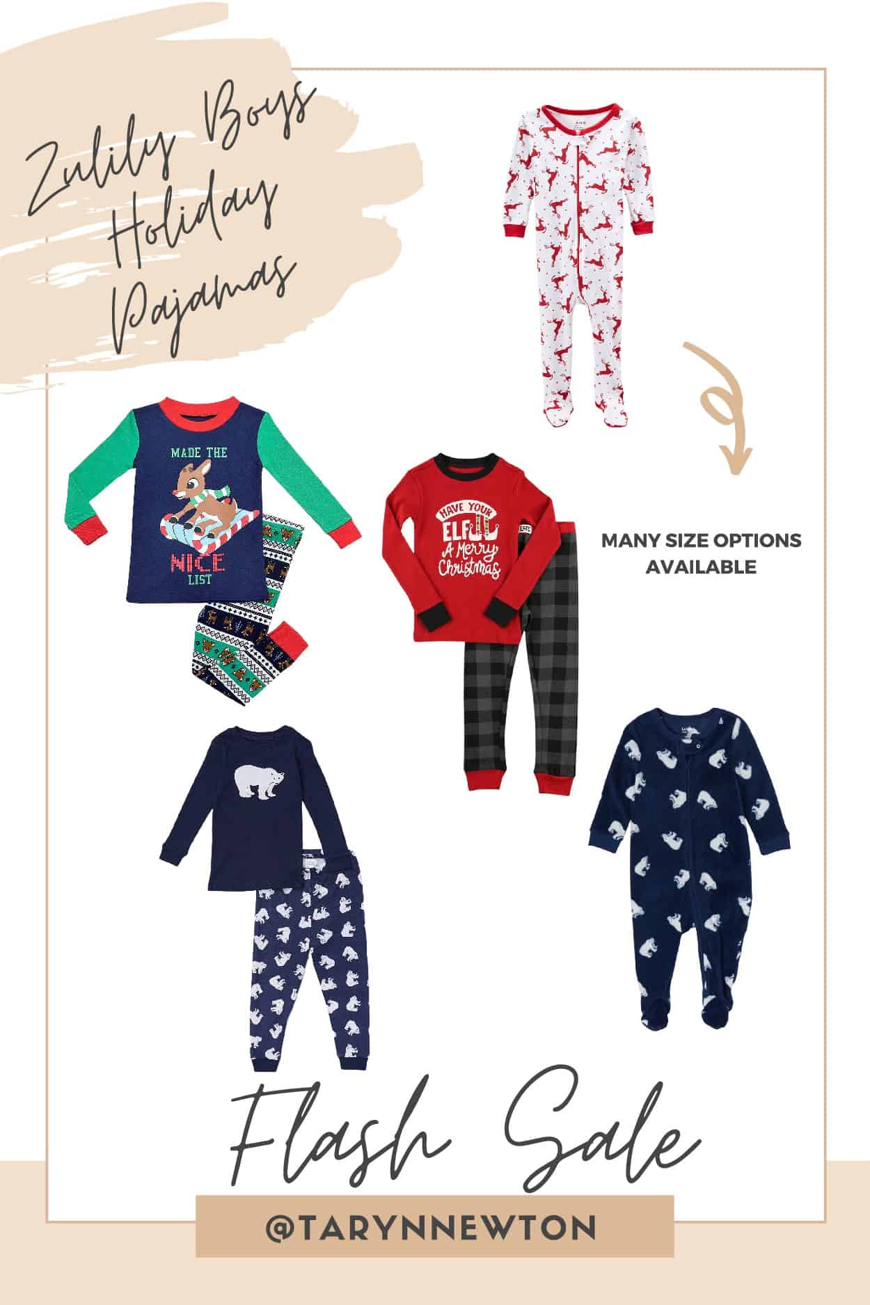 Christmas Gift Guide by poplar Dallas life and style blog, Glamorous Versatility: collage image of kids holiday pajamas.