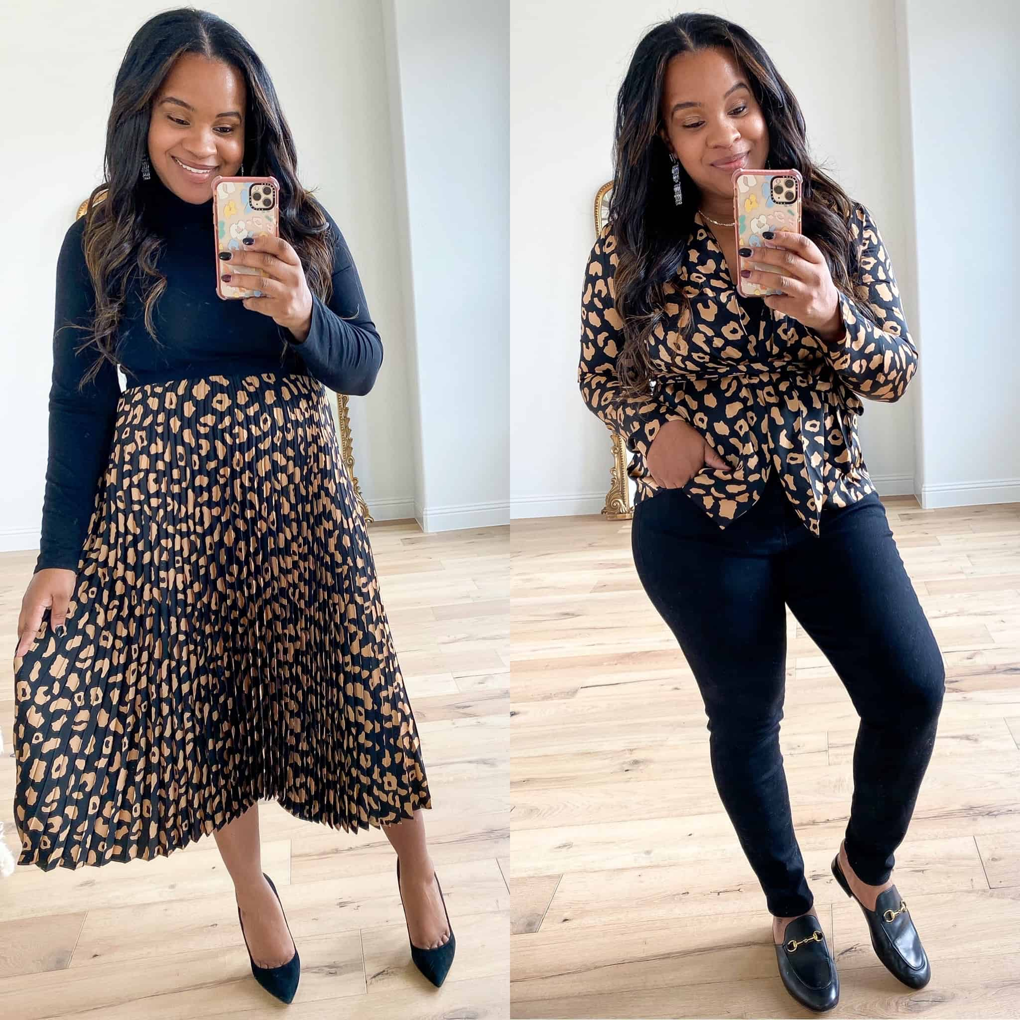 Last Minute Gift Ideas by popular Dallas life and style blog, Glamorous Versatility: collage image of a woman wearing a Walmart leopard print skirt and leopard print top.