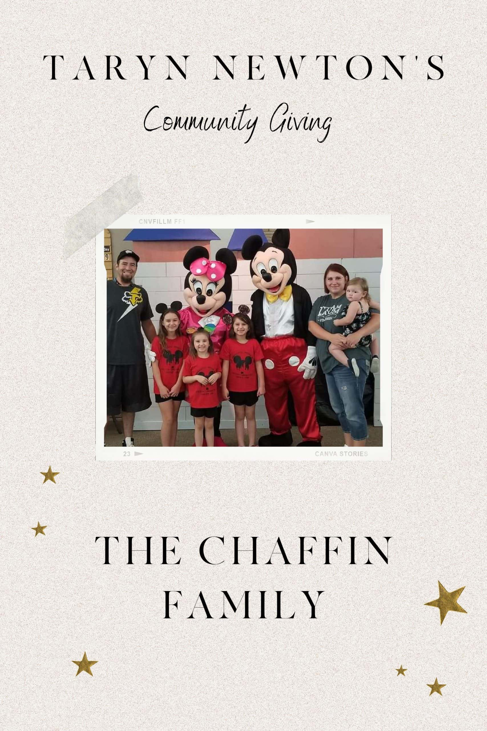 Community Giving by popular Dallas lifestyle blog, Glamorous Versatility: image of a family standing with Mickey and Minnie Mouse.