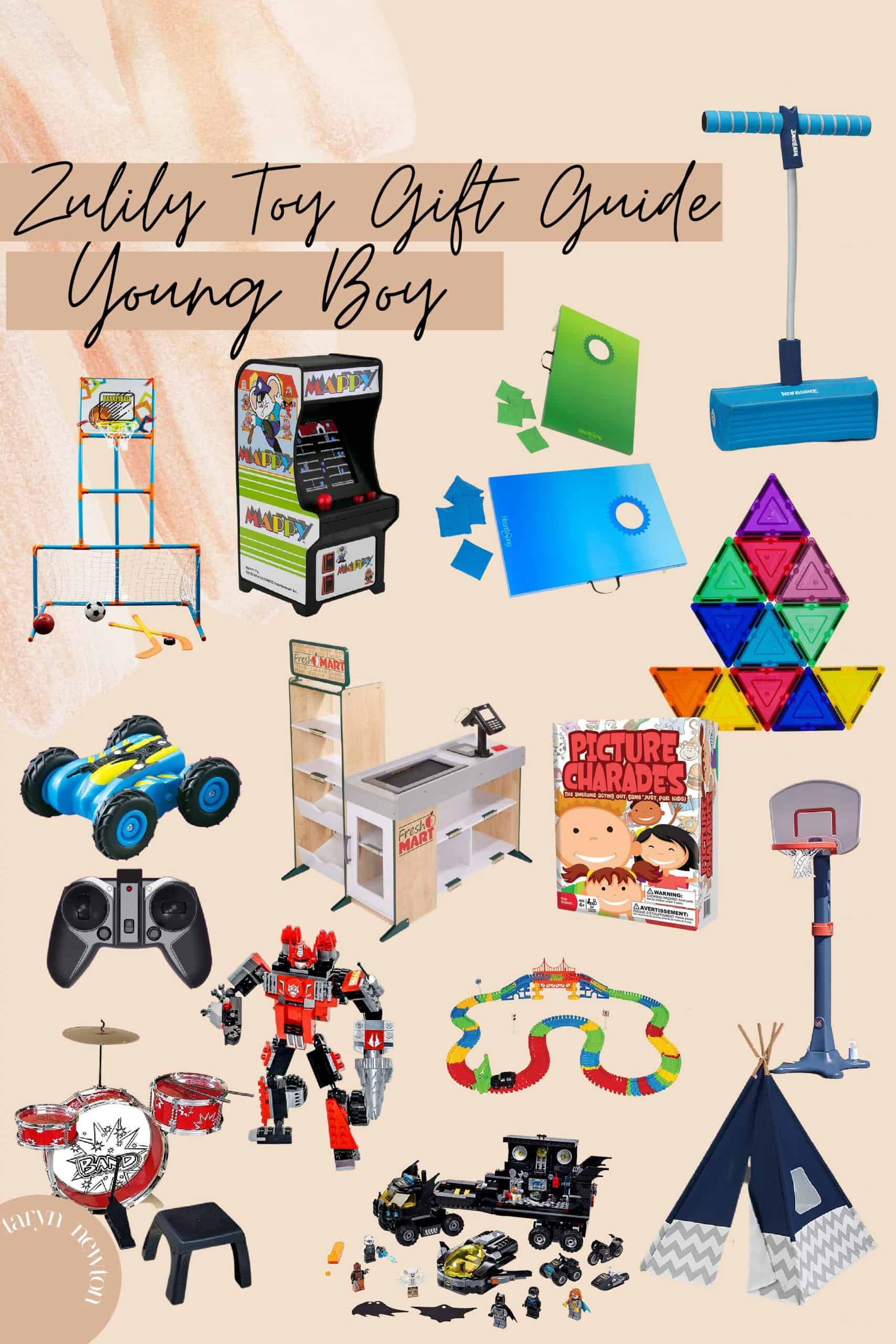 Last Minute Gift Ideas by popular Dallas life and style blog, Glamorous Versatility: collage image of a remote control car, drum set, tee pee, magna tiles, picture charade, play store set, arcade game, bean bag toss, pogo stick and basketball hoop.