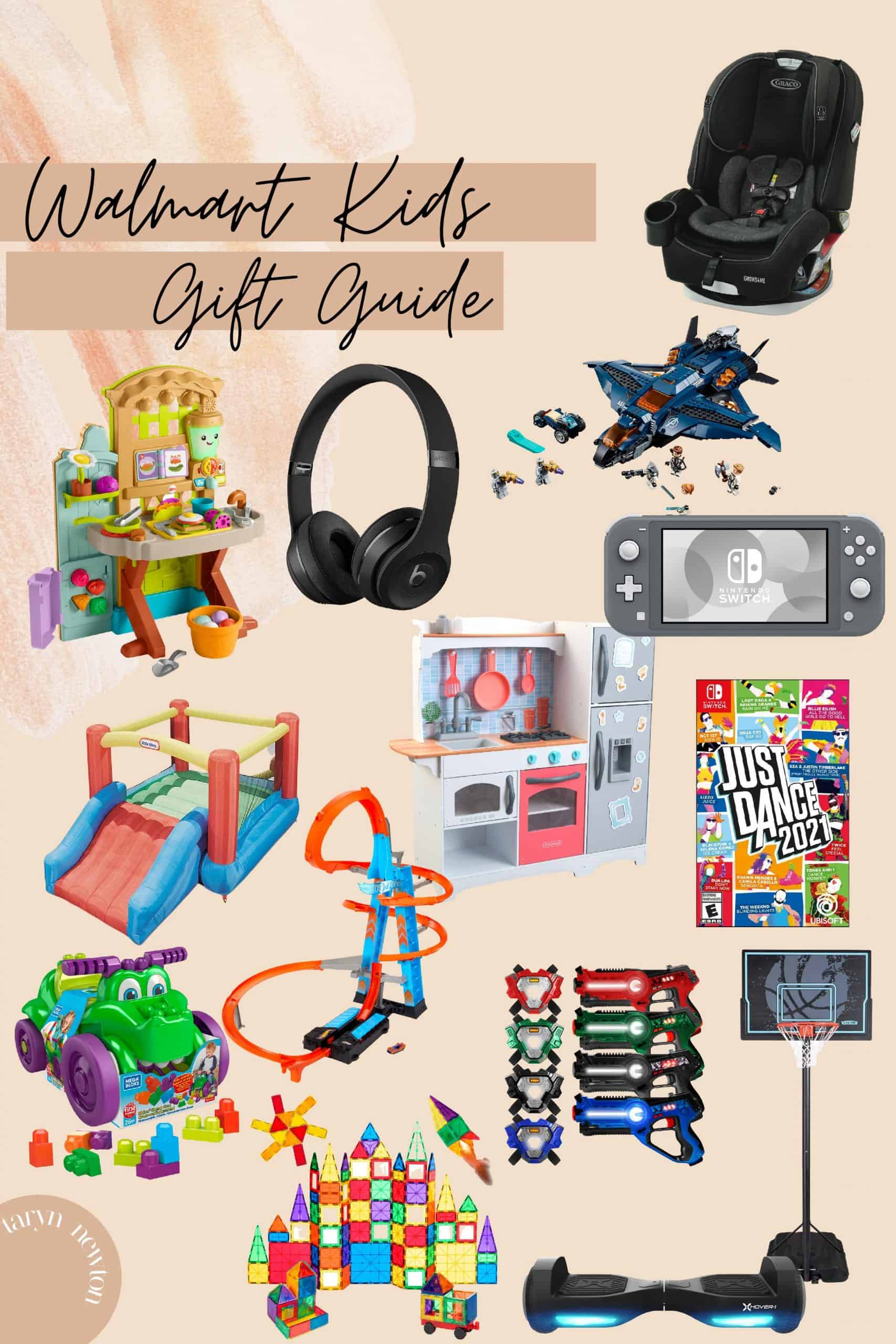 Best Deals at Walmart by popular Dallas life and style blog, Glamorous Versatility: collage image of a Graco carseat, inflatable bounce house, Hot Wheels track, hover board, magna tiles, Just Dance 2021, Nintendo switch, Basketball hoop, play kitchen, laser tag, bluetooth headphones, and Lego Marvel Avengers set.