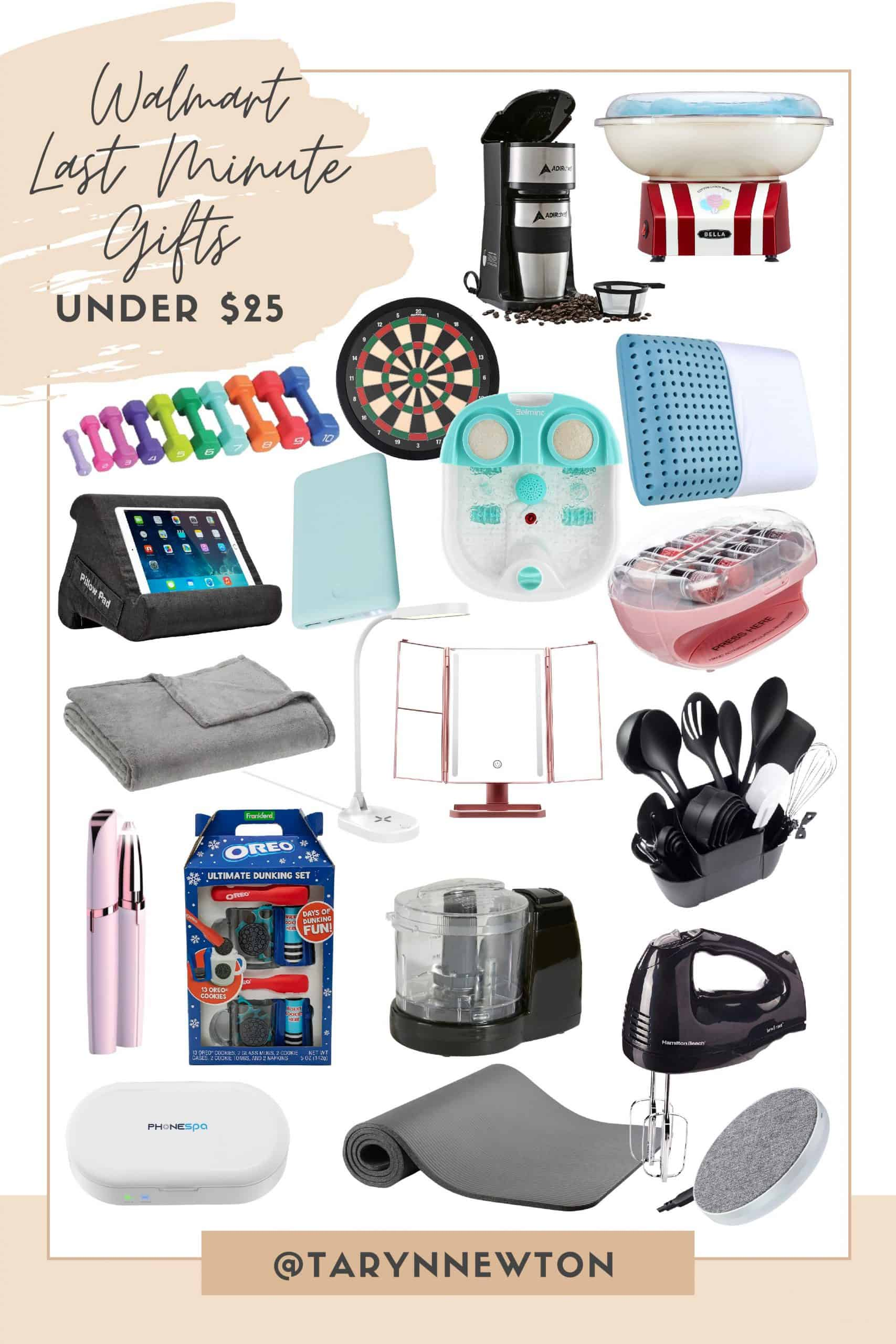 Last Minute Gift Ideas by popular Dallas life and style blog, Glamorous Versatility: collage image of a cotton candy machine, coffee maker, dart board, hand weights, kitchen utensils, weighted blanket, makeup mirror, food processor, hand mixer, ipad holder, yoga mat, and makeup light.