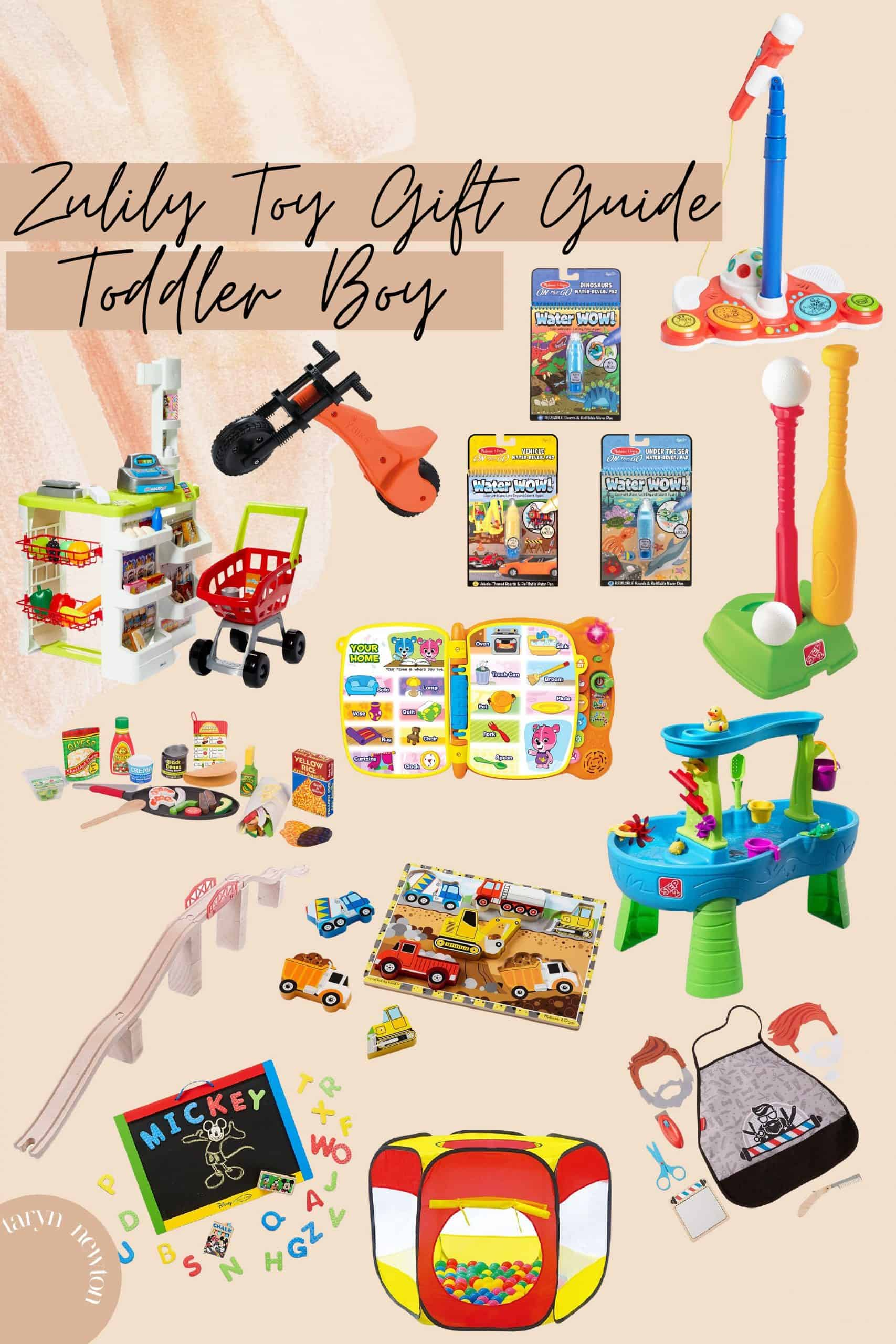 Last Minute Gift Ideas by popular Dallas life and style blog, Glamorous Versatility: collage image of a ball pit, train track, barber dress up set, water table, Melissa and Doug construction puzzle, t-ball set, toy store, and magnet board.
