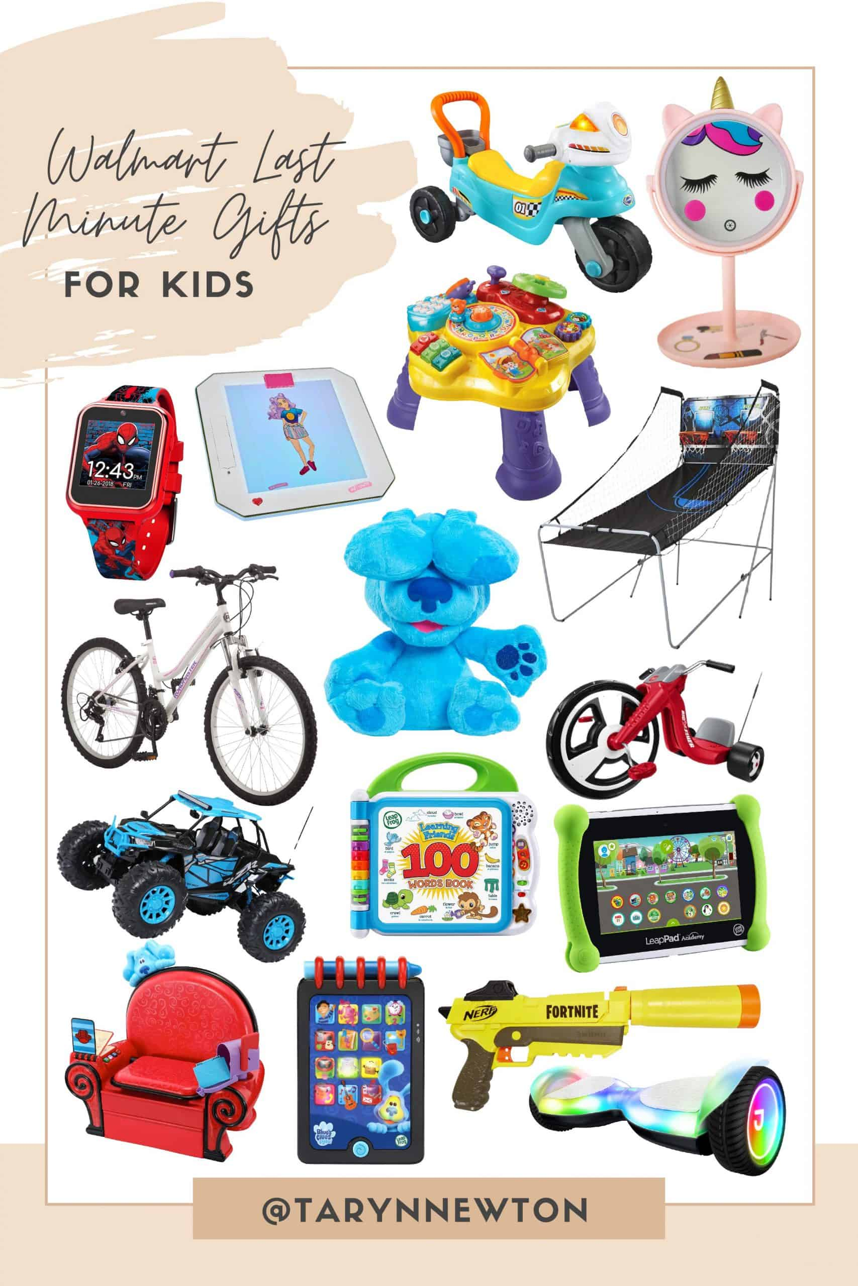 Last Minute Gift Ideas by popular Dallas life and style blog, Glamorous Versatility: collage image of a remote control car, smart watch, blues clues dog, white bike, fortnite nerf gun, hover board, unicorn mirror, basketball hoops and radio flyer bike.