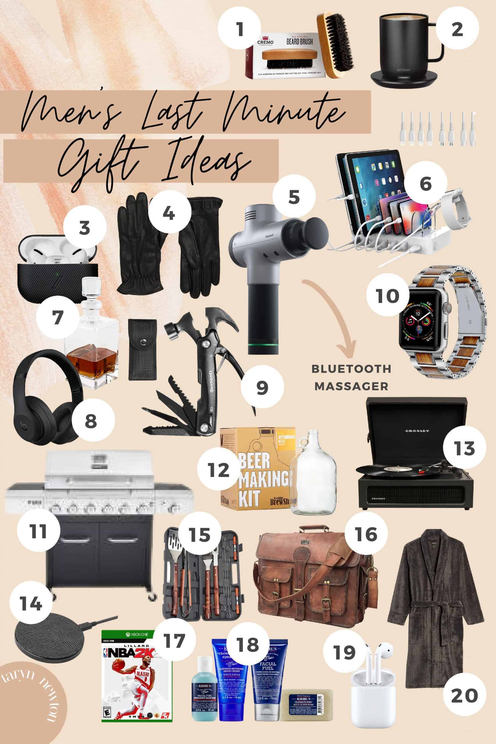 Gifts for Him by popular Dallas life and style blog, Glamorous Versatility: collage image of a BBQ grill, wireless charger, bathrobe, watch, leather gloves, bluetooth headphones, airpods, record player, airpods case, xbox video games, beer making kit, beard brush, grill set, quick charge charging station, and leather messenger bag.