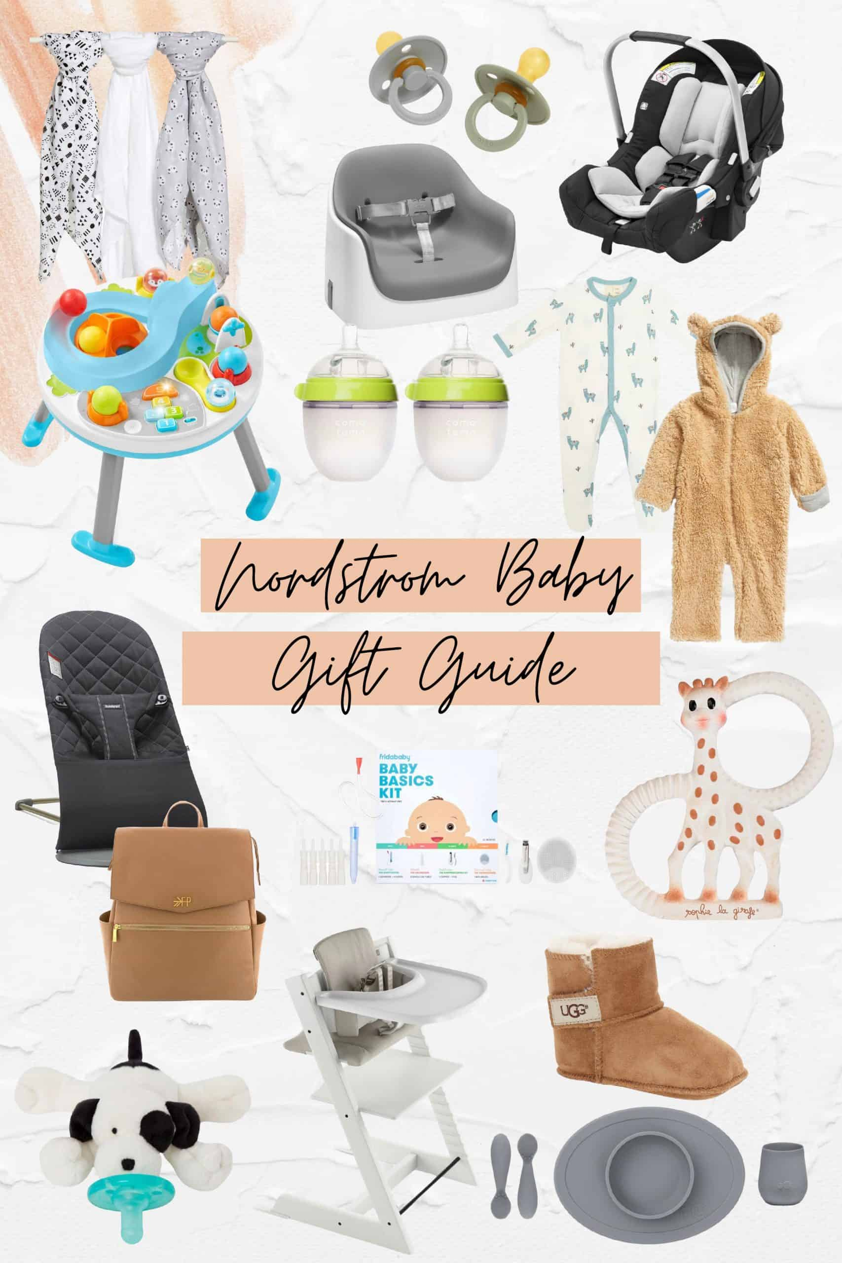Birth Story by popular Dallas motherhood blog, Glamorous Versatility: collage image of a Freshly Picked diaper bag, baby bouncers, high chiair, binky, Baby Ugg boots, giraffe teether, silicon, Baby Basics kit, bottles, blankets, onesies, and a car seat.