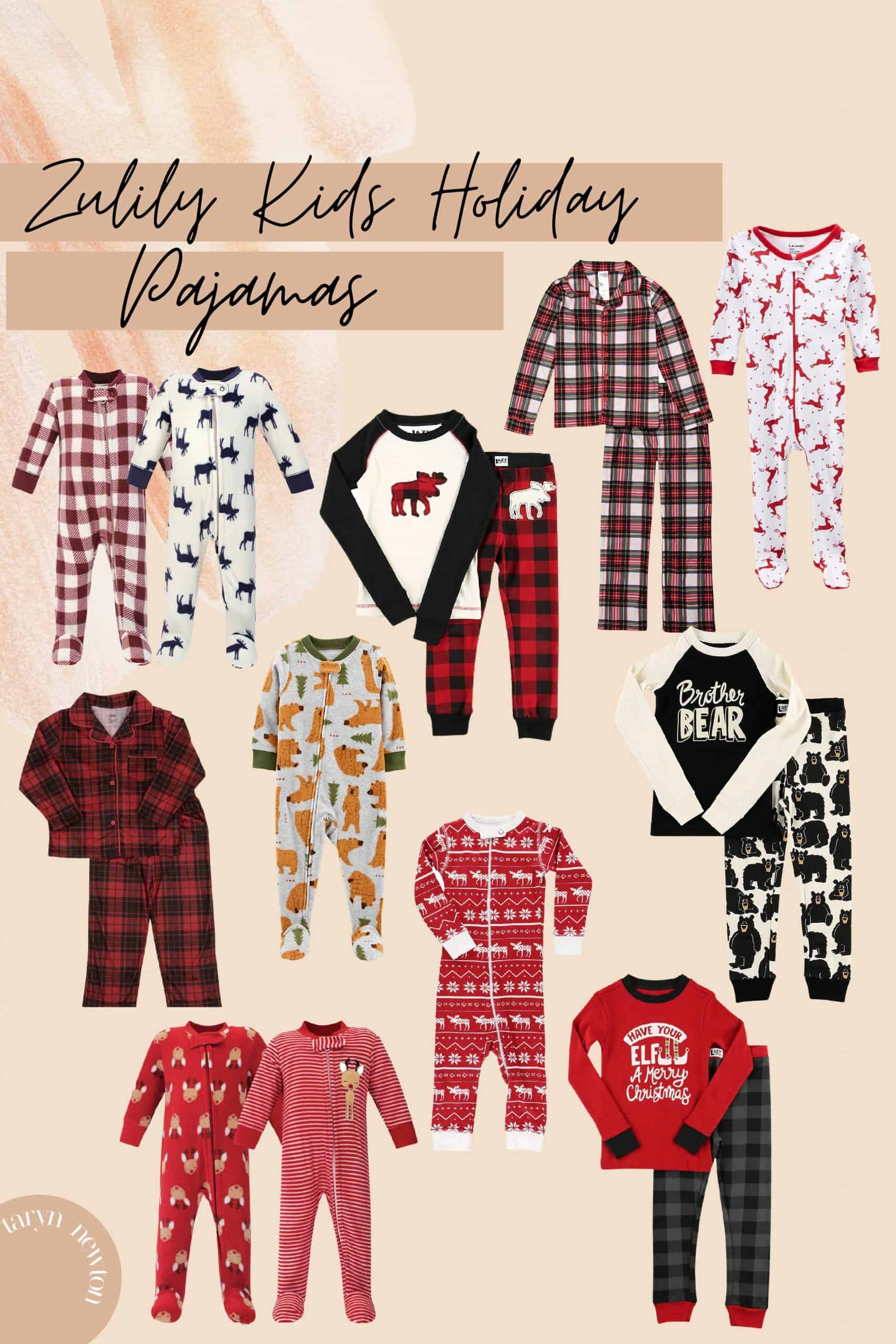 Last Minute Gift Ideas by popular Dallas life and style blog, Glamorous Versatility: collage image of kids pajama sets.