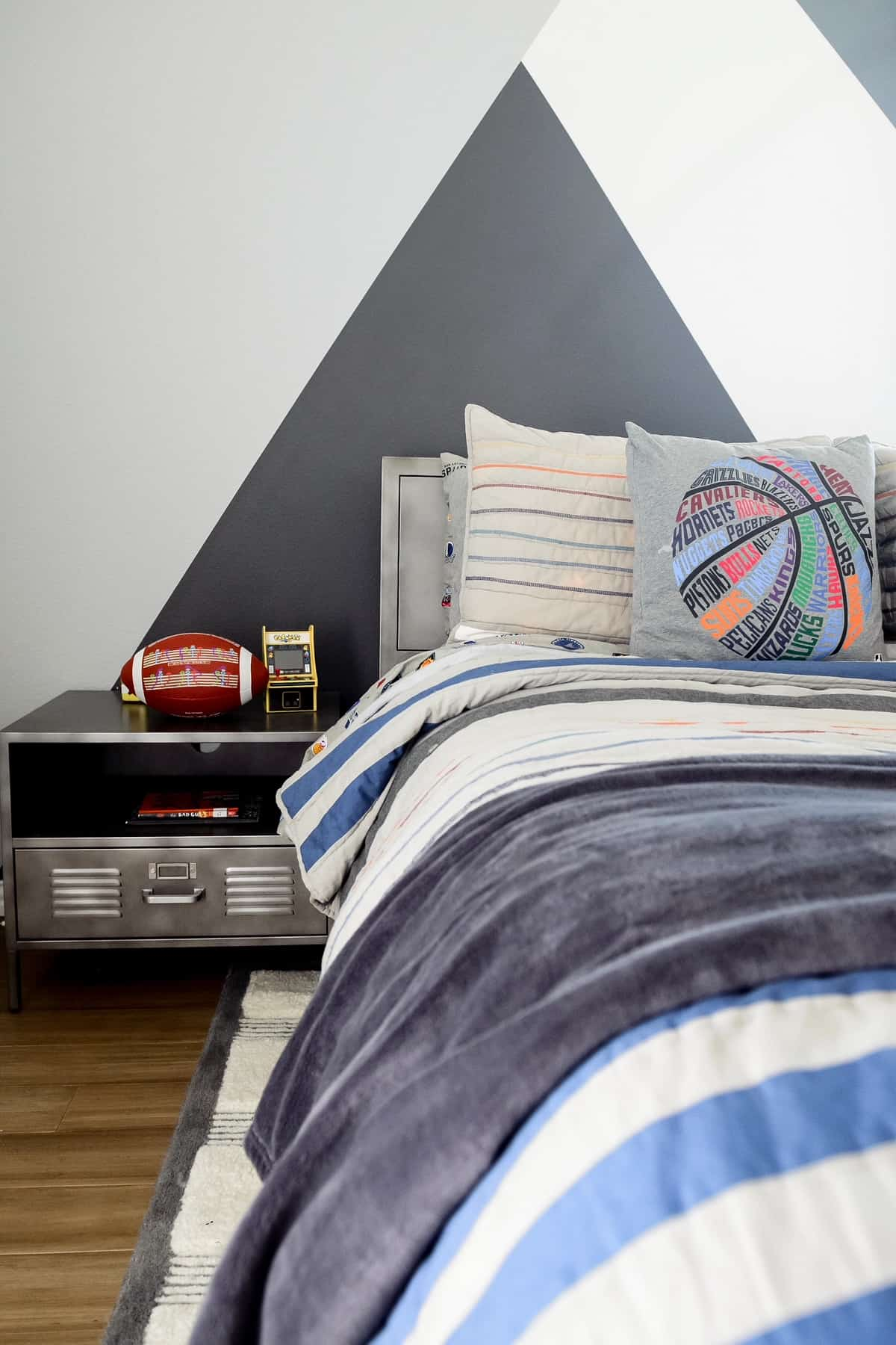 Teenage Boy Bedroom by popular Dallas life and style blog, Glamorous Versatility: image of a accent wall with a modern grey design painted on it.